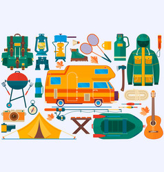 set of equipment for travel recreation adventure vector image vector image
