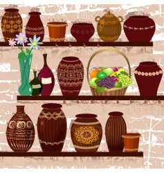 shelves with ceramic pots vector image vector image