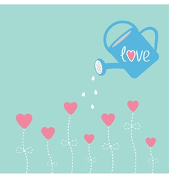 Water can and flowers in shape of heart Love card vector image vector image