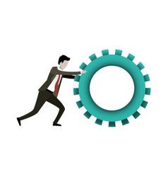 white background with businessman pushing a big vector image