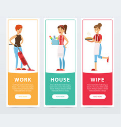 work house wife banners set housewife cooking vector image