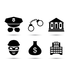 Criminal and prison icons set vector image vector image