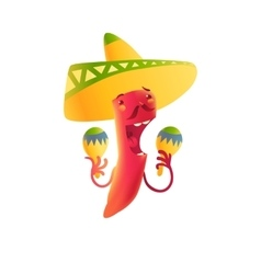 Happy chili pepper character in sombrero playing vector image