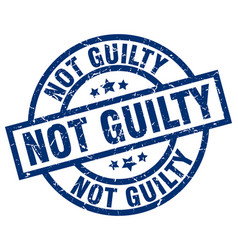 Not guilty blue round grunge stamp vector
