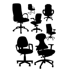 Office chair silhouetts vector