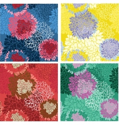 Seamless background flower bouquet set vector image vector image