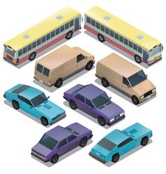 set of isometric urban transportation cars vector image vector image