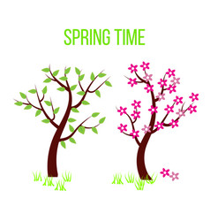 spring time tree composition with flowers and vector image