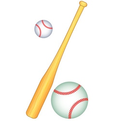 Baseball bat and balls vector image