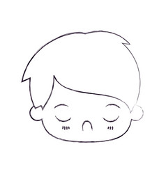 Blurred thin silhouette of kawaii head of little vector