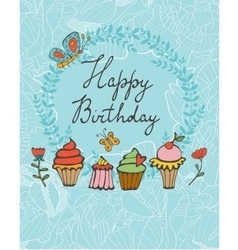 Happy birthday card with sweet dessert vector image vector image
