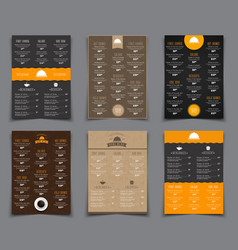 set a4 menu for restaurants and cafes templates vector image vector image