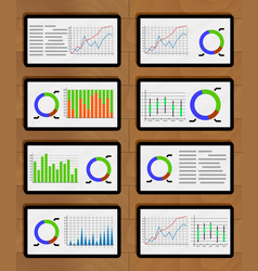 set of chart and graphic on tablets vector image