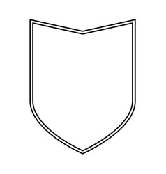 shield black silhouette and double contour vector image