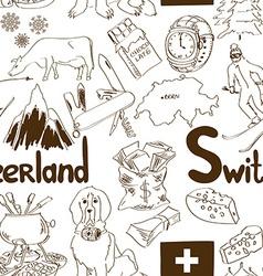 Sketch Switzerland seamless pattern vector image vector image