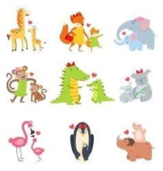 Small animals and their moms set vector