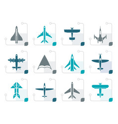 stylized different types of plane icons vector image