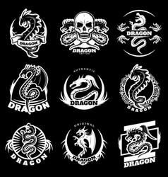 Vintage white dragon tattoo labels set vector