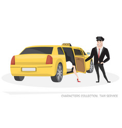 vip taxi with driver and passenger in cartoon vector image vector image