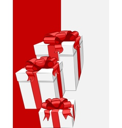 white gift box with red ribbon bow vector image