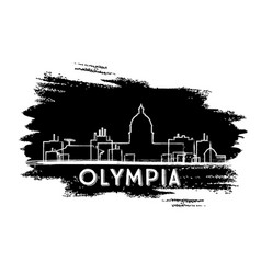 olympia skyline silhouette hand drawn sketch vector image