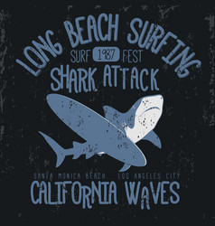 surfing t-shirt graphic design vector image