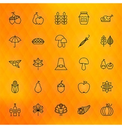 Thanksgiving Day Thin Line Icons Set vector image