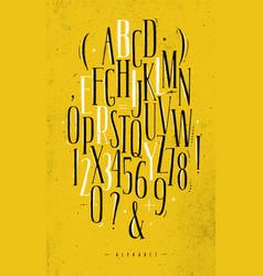 alphabet gothic font yellow vector image