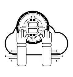 bitcoins hand holding black and white vector image
