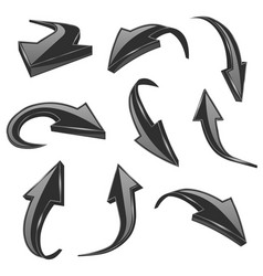black 3d shiny arrows set of bent icons vector image