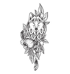 Black and white wolf peony vector