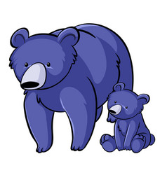 Blue bears on white background vector