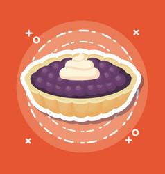 Blueberries pie icon vector