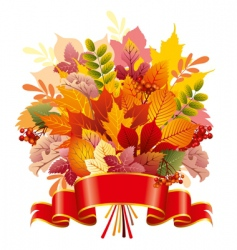 Bouquet of autumn leaves vector