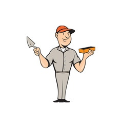 Bricklayer Mason Plasterer Standing Cartoon vector image