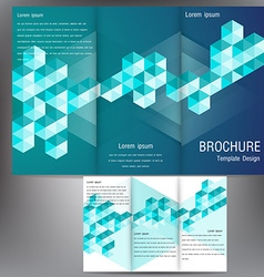 Brochure business template design with blue vector