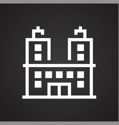Building line icon on background for graphic and vector