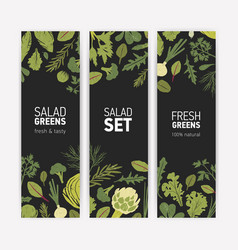 Bundle of vertical banner templates with fresh vector