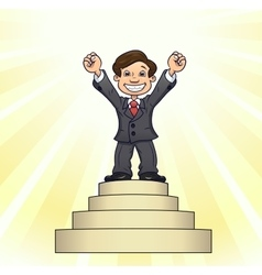 Businessman is standing on pedestal 3 vector