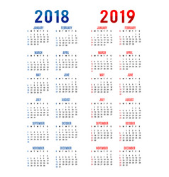 Calendar planner happy new year 2018 2019 vector