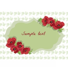 Card with Poppy flowers vector