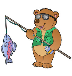 Cartoon bear fisherman vector