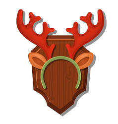 Cartoon wall antlers with the headband isolated on vector