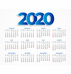 clean 2020 calendar template design vector image
