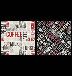 Coffee pattern with text in retro style coffee vector