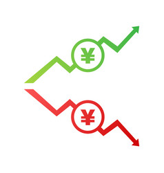 colorful yen yuan currency up and down sign icon vector image