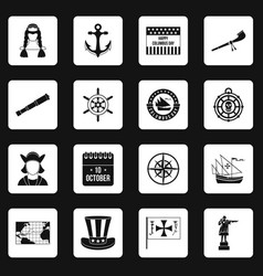 Columbus day icons set squares vector
