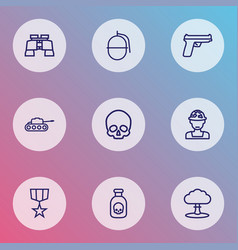 combat icons line style set with poison medal vector image