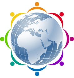 Community people joined around globe vector