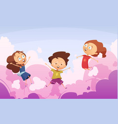 company of playful kids jumping against rose vector image